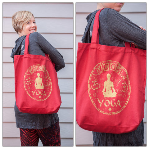 NEW Recycled Cotton Canvas Shopping Tote Bag Yoga Gold on Red