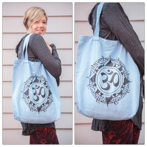 NEW Recycled Cotton Canvas Shopping Tote Bag Light Blue