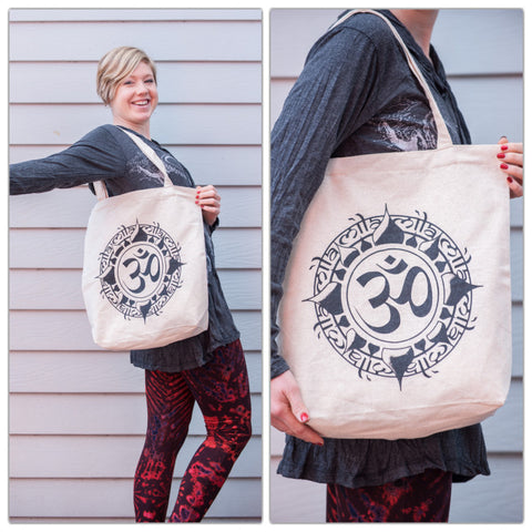 NEW Recycled Cotton Canvas Shopping Tote Bag Om Natural