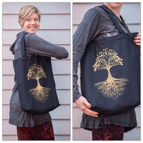 NEW Recycled Cotton Canvas Shopping Tote Bag Tree of Life Gold on Black