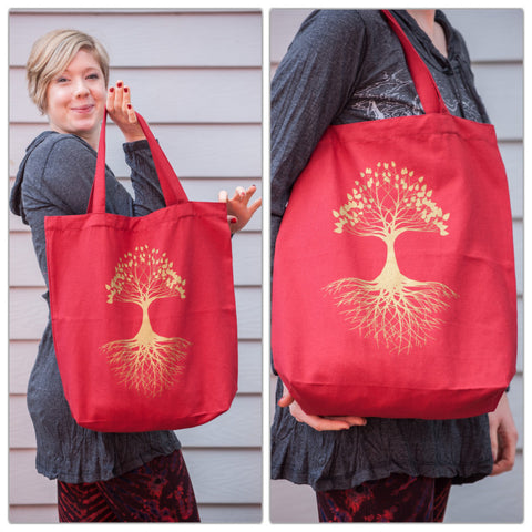 NEW Recycled Cotton Canvas Shopping Tote Bag Tree of Life Gold on Red
