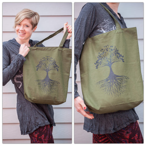 NEW Recycled Cotton Canvas Shopping Tote Bag Tree of Life Green