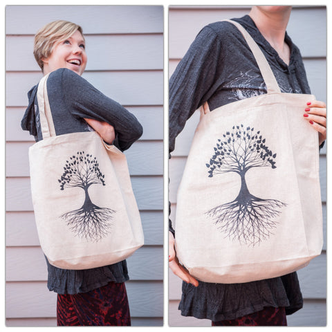 NEW Recycled Cotton Canvas Shopping Tote Bag Tree of Life Natural