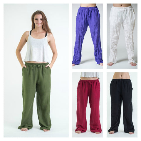 Assorted set of 10 Thai Organic Cotton Wide Leg Drawstring Pants