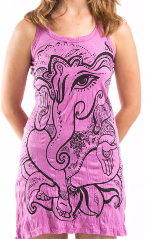 Sure Design Women's Cute Ganesha Tank Dress Pink