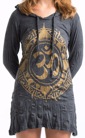 Sure Design Women's Infinitee Ohm Hoodie Dress Gold on Black
