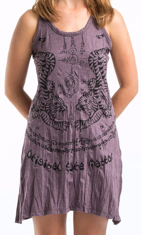 Sure Design Women's Thai Tattoo Tank Dress Brown