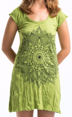 Sure Design Women's Lotus Mandala Dress Lime