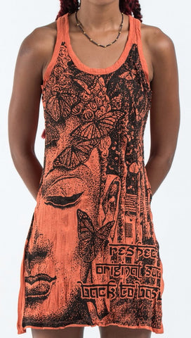 Sure Design Women's Butterfly Buddha Tank Dress Orange