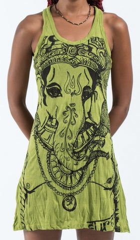 Sure Design Women's Big Face Ganesh Tank Dress Lime