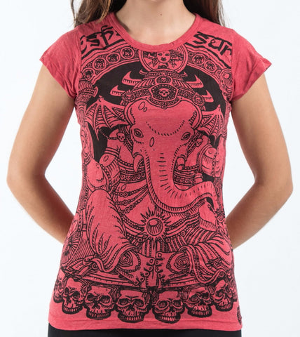 Sure Design Women's Batman Ganesh T-Shirt Red