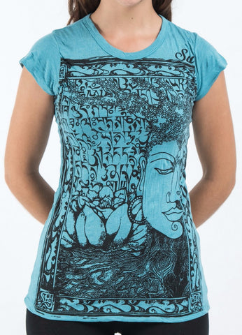 Sure Design Women's Sanskrit Buddha T-Shirt Turquoise