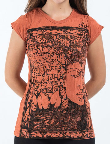 Sure Design Women's Sanskrit Buddha T-Shirt Orange