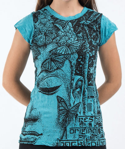 Sure Design Women's Butterfly Buddha T-Shirt Turquoise
