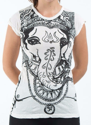Sure Design Women's Big Face Ganesh T-Shirt White