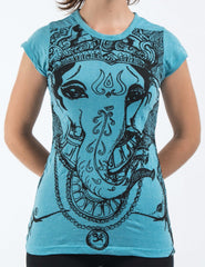 Sure Design Women's Big Face Ganesh T-Shirt Turquoise