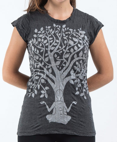 Sure Design Women's Meditation Tree T-Shirt Silver on Black