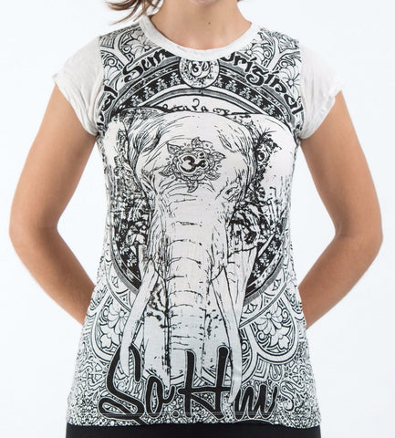 Sure Design Women's Wild Elephant T-Shirt White