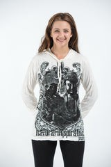 Sure Design Unisex Antique Buddha Hoodie White