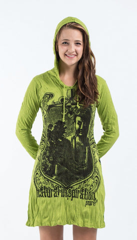 Sure Design Women's Antique Buddha Hoodie Dress Lime