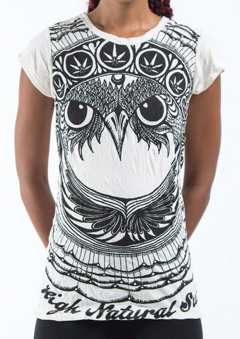 Sure Design Women's Weed Owl T-Shirt White