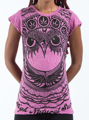 Sure Design Women's Weed Owl T-Shirt Pink