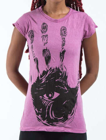 Sure Design Women's Eye In Palm T-Shirt Pink