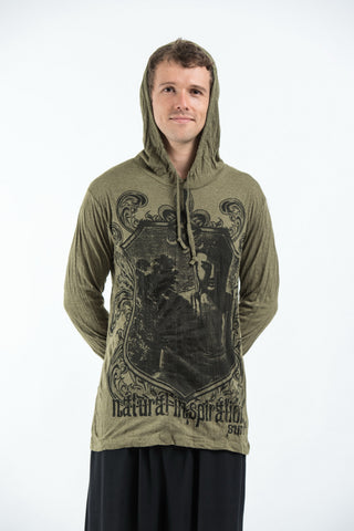 Sure Design Unisex Antique Buddha Hoodie Green