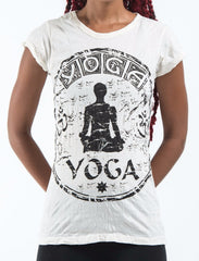 Sure Design Women's Infinitee Yoga Stamp T-Shirt White