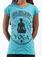 Sure Design Women's Infinitee Yoga Stamp T-Shirt Turquoise