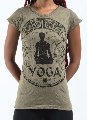 Sure Design Women's Infinitee Yoga Stamp T-Shirt Green