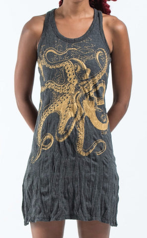 Sure Design Women's Octopus Tank Dress Gold on Black