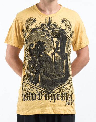 Sure Design Men's Antique Buddha T-Shirt Yellow