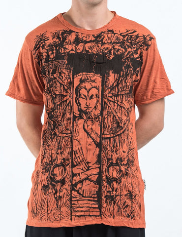 Sure Design Men's Meditation Buddha T-Shirt Orange