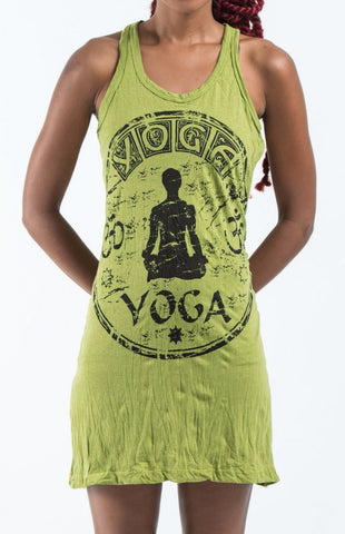 Sure Design Women's Infinitee Yoga Stamp Tank Dress Lime