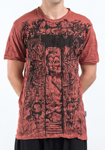 Sure Design Men's Meditation Buddha T-Shirt Brick