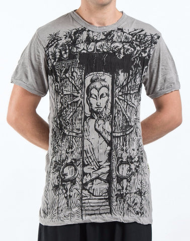 Sure Design Men's Meditation Buddha T-Shirt Gray