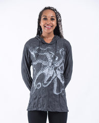 Sure Design Unisex Octopus Hoodie Silver on Black