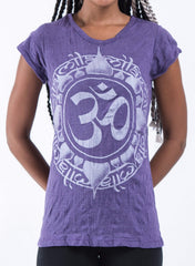 Sure Design Women's Infinitee Ohm T-Shirt Silver on Purple