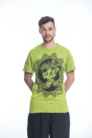 Sure Design Mens Ohm Buddha Face T-Shirt Lime