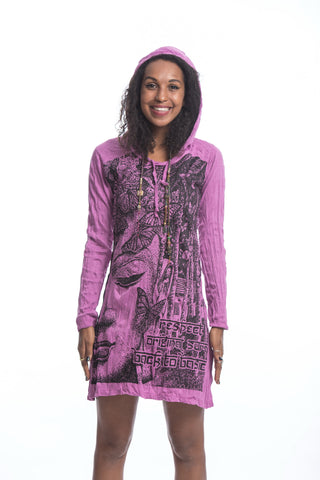 Sure Design Women's Butterfly Buddha Hoodie Dress Pink