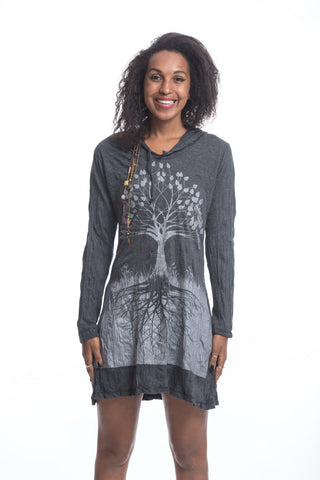 Sure Design Women's Tree of Life Hoodie Dress Silver on Black