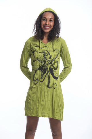 Sure Design Women's Octopus Hoodie Dress Lime