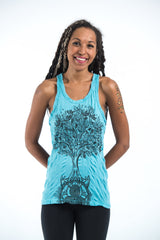 Sure Design Women's Celtic Tree Tank Top Turquoise