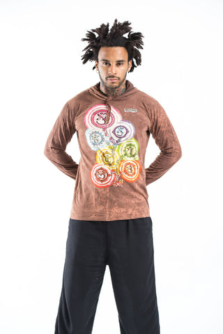 New Sure Design Stone Washed Super Soft Hoodies Chakra Tree Rust