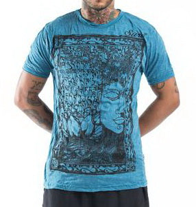 Sure Design Men's Sanskrit Buddha  T-Shirt Denim Blue