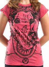 Sure Design Women's Big Face Ganesh T-Shirt Red