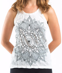 Sure Design Women's Lotus Mandala Tank Top White