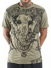 Sure Design Men's Big Face Ganesh T-Shirt Green