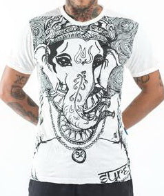 Sure Design Men's Big Face Ganesh T-Shirt White